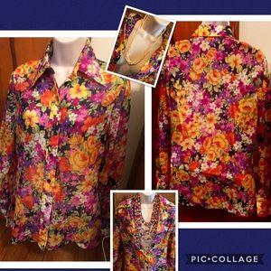 Vintage Jubilee NY Sheer Nylon Floral Blouse